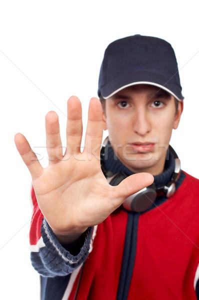 серьезный диск-жокей остановки белый стороны Сток-фото © broker