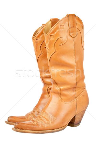 Botas de vaqueiros par usado isolado branco sapatos Foto stock © broker