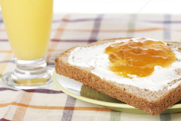 Café da manhã brinde manteiga pêssego congestionamento verde Foto stock © broker