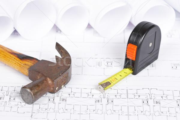 Stockfoto: Blauwdrukken · tools · bouw · plannen · ondiep · business