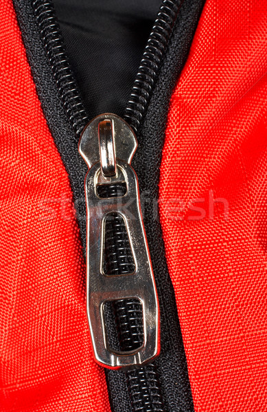 Chroom rits Rood weefsel zwarte Stockfoto © broker