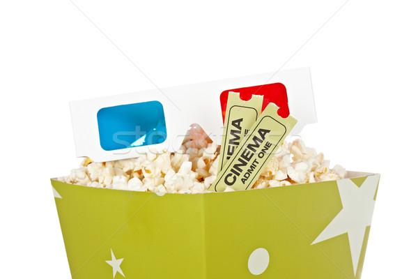 Stockfoto: Popcorn · emmer · twee · tickets · 3d-bril · 3D