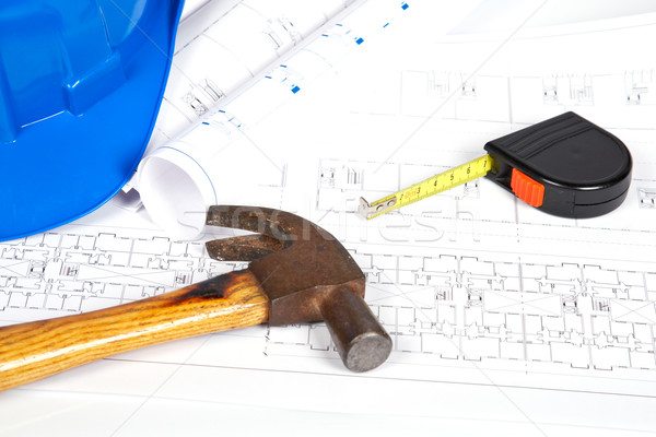 Photo stock: Blueprints · outils · construction · plans · peu · profond