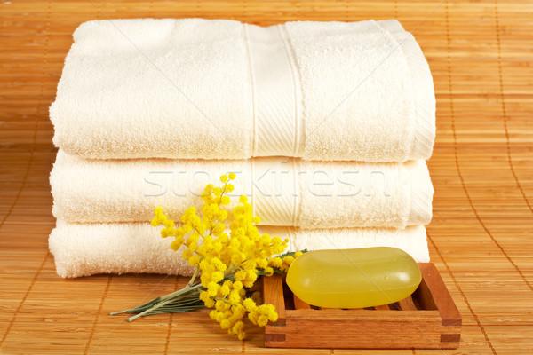 Törölközők szappan fürdőkád kellékek szépségipari termékek bambusz Stock fotó © broker