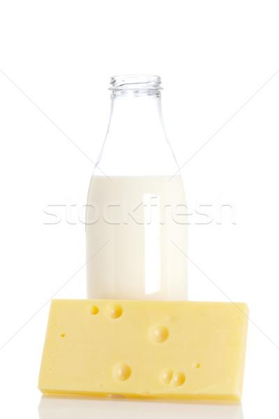 Stok fotoğraf: Peynir · süt · şişe · dilim · taze · yalıtılmış