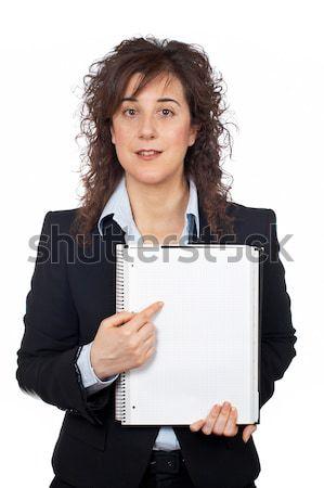 Femme d'affaires portable blanche note écran Photo stock © broker