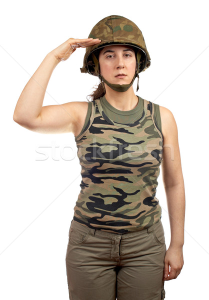 Soldier girl salute Stock photo © broker