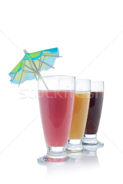 Stock photo: Milkshakes of strawberry, vanilla and chocolate