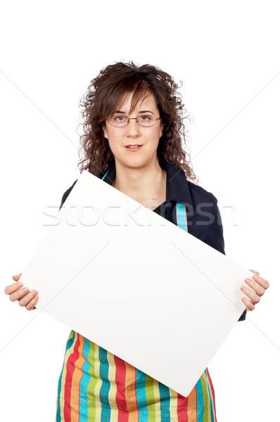 Ménagère tablier affiche blanche fille Photo stock © broker