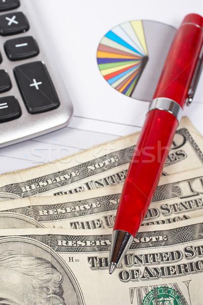 Inkomsten calculator pen dollar grafiek ondiep Stockfoto © broker