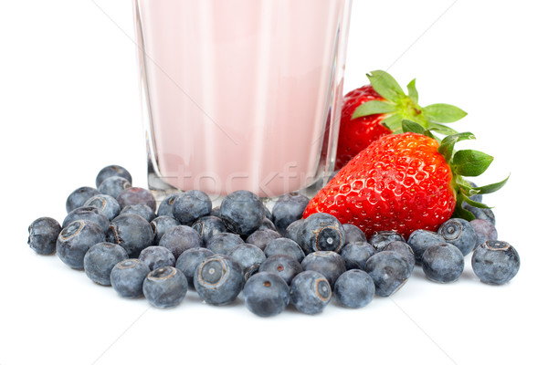 Strawberry milkshake with blueberries Stock photo © broker