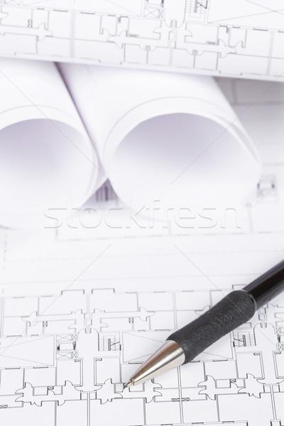 Stockfoto: Blauwdrukken · potlood · bouw · plannen · automatisch · ondiep