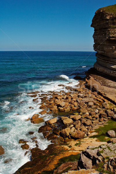The sea breaking in cliffs Stock photo © broker
