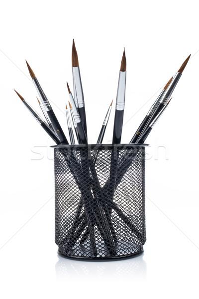 Pincéis cesta arte estudar Foto stock © broker