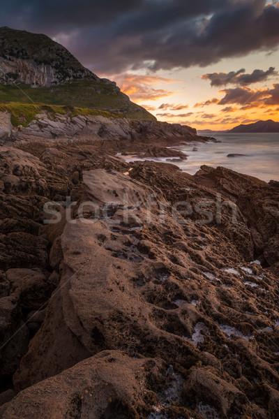 удивительный морской пейзаж закат небе океана рок Сток-фото © broker