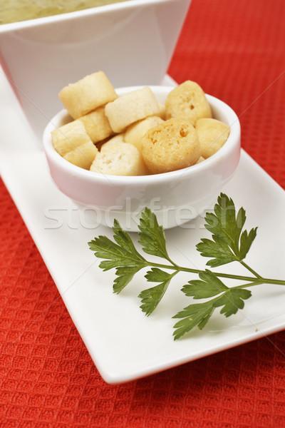 Pan perejil espinacas rojo superficial cena Foto stock © broker