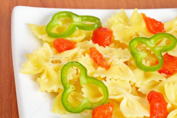 Italiaans pasta vers gekookt plaat eten Stockfoto © broker