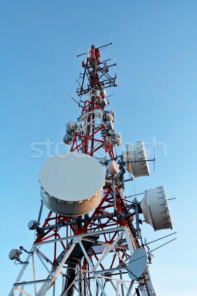Photo stock: Télécommunications · téléphone · coucher · du · soleil · téléphone · réseau · mobiles
