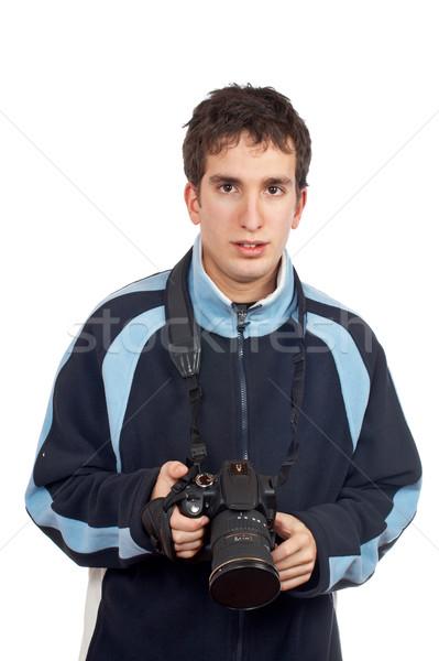 Fotograf nastolatek kamery biały działalności Zdjęcia stock © broker