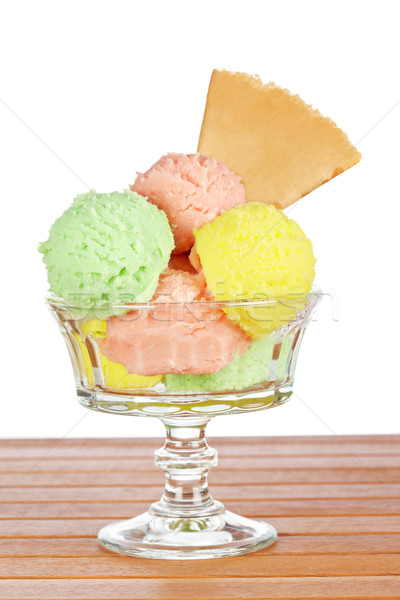 Multi flavor ice cream glass Stock photo © broker