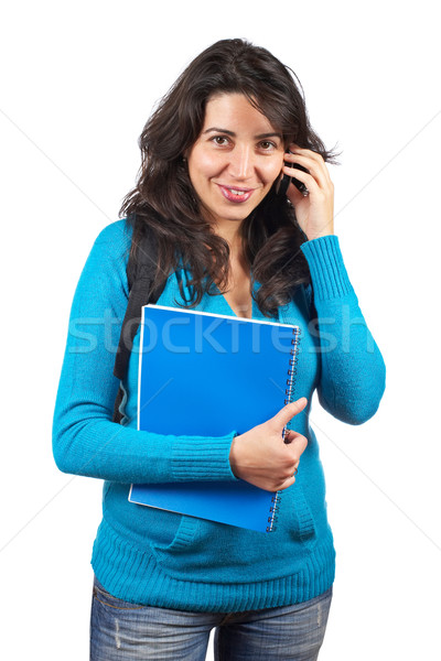 Student woman talking with phone Stock photo © broker