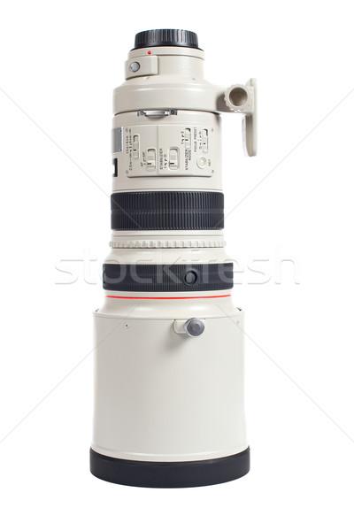 Kamery teleobiektyw odizolowany biały czarny lustra Zdjęcia stock © broker