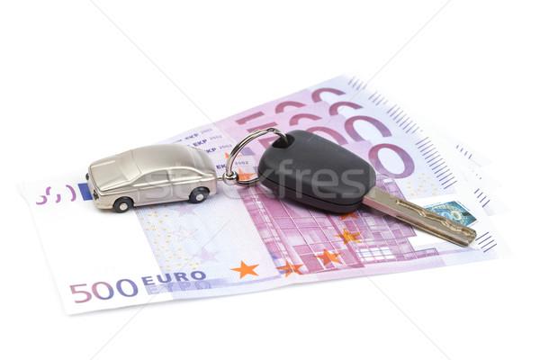 Slusszkulcs Euro számlák fehér sekély pénz Stock fotó © broker