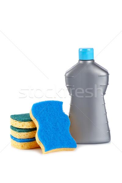 Detergent bottle and sponges Stock photo © broker