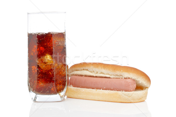 Hot dog and soda glass Stock photo © broker
