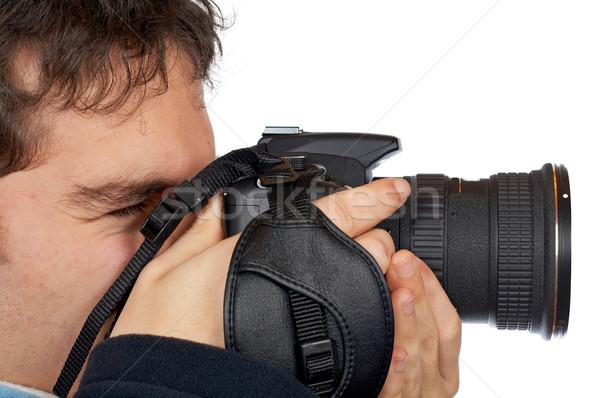 Fotografo adolescente guardando business mani Foto d'archivio © broker