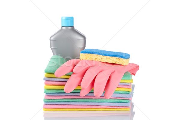 Detergent bottle, sponge and gloves Stock photo © broker