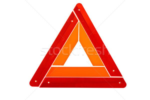 Avertissement triangle signe isolé blanche orange Photo stock © broker