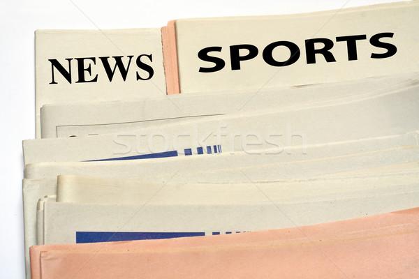 Spor gazeteler beyaz ofis kâğıt Stok fotoğraf © broker