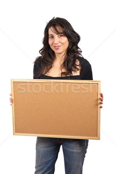 Foto stock: Mujer · vacío · sonriendo · blanco · manos · sonrisa