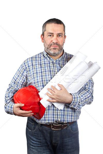 Pracownik budowlany plany odizolowany biały domu Zdjęcia stock © broker