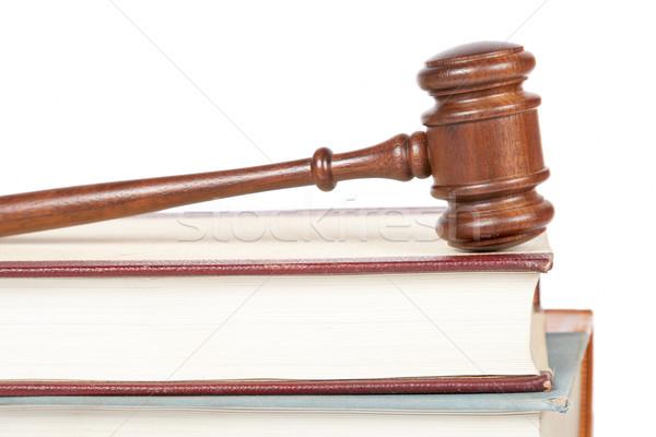 Fából készült kalapács törvény könyvek bíróság izolált Stock fotó © broker