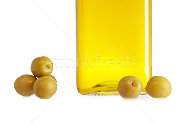 Oliwy butelki oliwek odizolowany biały zdrowia Zdjęcia stock © broker