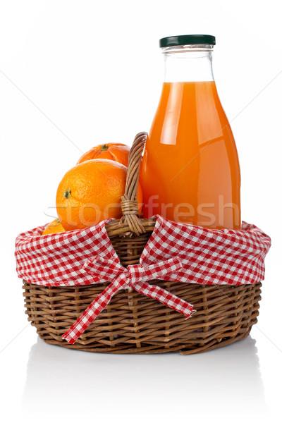 Stockfoto: Sinaasappelen · vers · sap · drie · een · fles