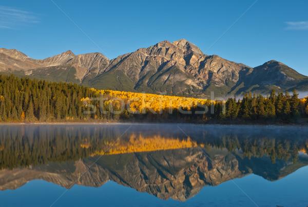 Lago pirâmide montanha Canadá parque árvores Foto stock © broker