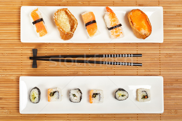 Sushi dois placas bambu raso Foto stock © broker