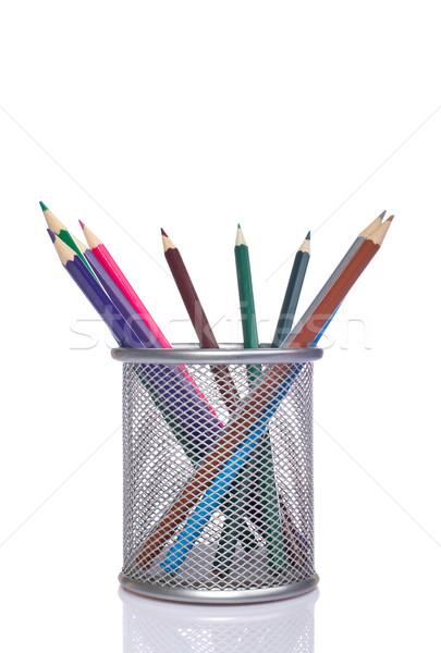 Ołówki koszyka różny pędzle sztuki Zdjęcia stock © broker