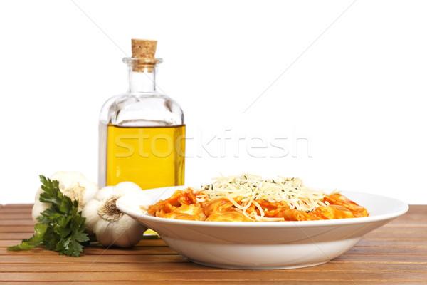 Italiaans pasta kaas tomaat vers gekookt Stockfoto © broker