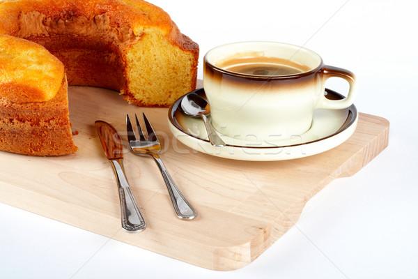 Piskóta csésze kávé kanál kés villa Stock fotó © broker
