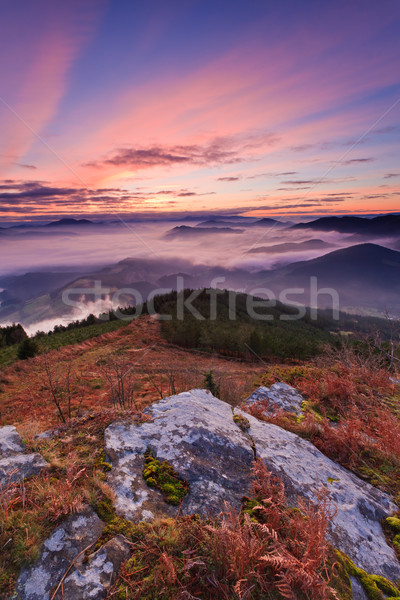 гор тумана зима Восход пейзаж горные Сток-фото © broker