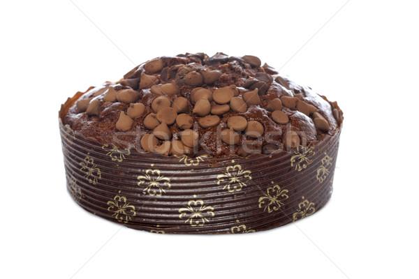 Bolo chocolate saboroso isolado branco raso Foto stock © broker