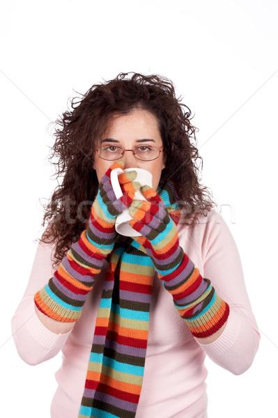Frío tiempo nina guantes bufanda Foto stock © broker