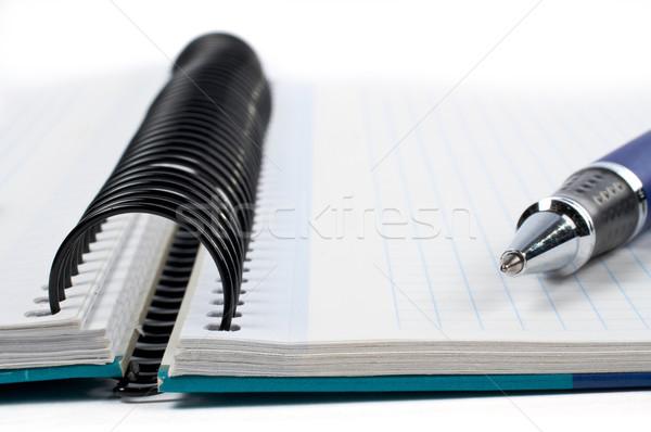Detail pen notebook vel schaduw witte Stockfoto © broker