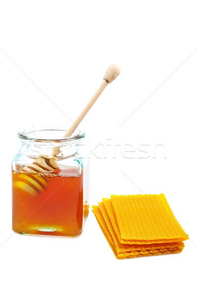 Miel jar en nid d'abeille bois à l'intérieur blanche Photo stock © broker