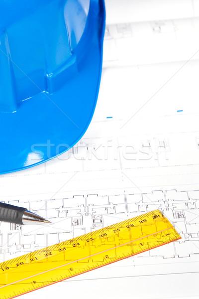 Photo stock: Blueprints · dessin · outils · construction · plans