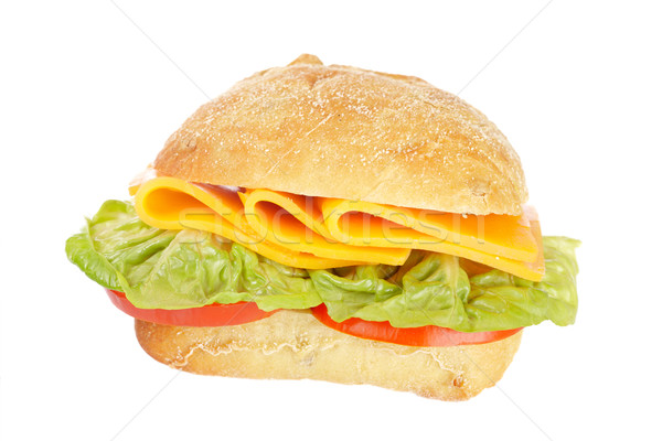Foto stock: Sándwich · baguette · lechuga · tomates · queso · superficial